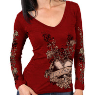 V NECK RED BANNER HEART - LONGSLEEVE SHIRT