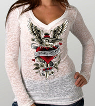 LADIES LONG SLEEVE V DAGGER HEART BURNOUT