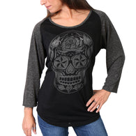 SUGAR SKULL BLACK & HEATHER GREY 3/4 SLEEVE LADIES SHIRT