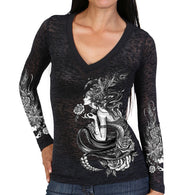 V NECK BURNOUT LONGSLEEVE ORIGINAL FLAPPER DESIGN