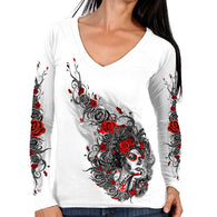 SUGAR WOMAN V-NECK LONG SLEEVE SHIRT
