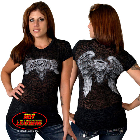 DOUBLE SIDED ASPHALT ANGEL BURN OUT - SHORT SLEEVE LADIES SHIRT