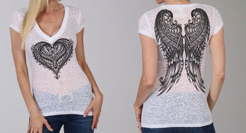 ORNATE ANGEL WINGS LADIES SHORT SLEEVE V-NECK SHIRT - BORNOUT