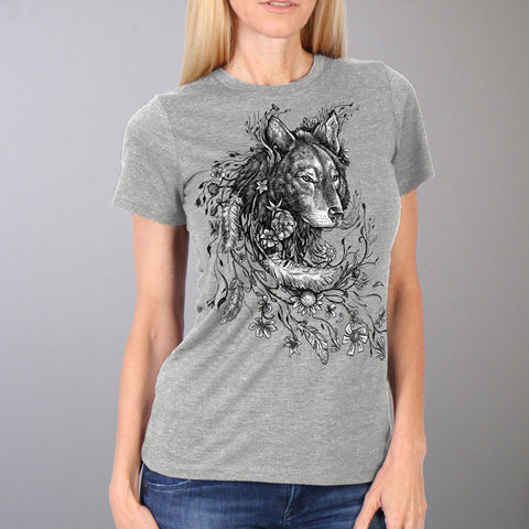 WOLF FLOWERS SHORT SLEEVE LADIES T-SHIRT - FULL CUT
