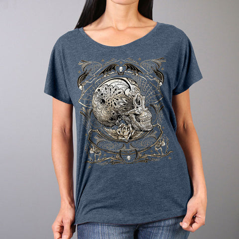 SHORT SLEEVE PROFILE SUGAR SKULL LADY T SHIRT - FULL CUT