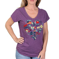 HEART THEMES V-NECK LADIES SHORT SLEEVE T-SHIRT - FULL CUT