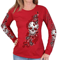 SUGAR PAISLEY LADIES LONG SLEEVE SHIRT - FULL CUT