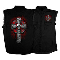 CELTIC CROSS SLEEVELES DENIM