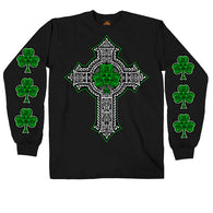 MENS BLACK LONG SLEEVE CELTIC CROSS SHAMROCK SHIRT