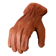 DEERSKIN LEATHER DRIVER GLOVES - BROWN