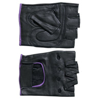 FINGERLESS BLACK & PURPLE GLOVE