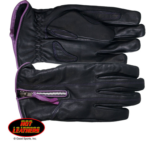 LADIES DRIVING -  BLACK & PURPLE - GLOVES LEATHER