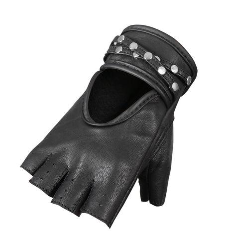 FINGERLESS BLACK & STUDS LEATHER GLOVE