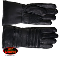 LINED GAUNTLET GLOVE - LEATHER - W/RAIN PROTECTION IN POUCH