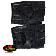 BLACK FINGERLESS GLOVE - LEATHER