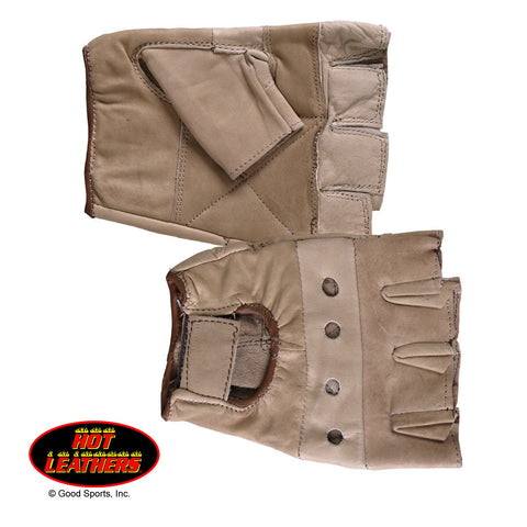 BROWN FINGERLESS LEATHER GLOVES