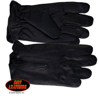 FLEECE LINING & ZIPPER GLOVES - LEATHER