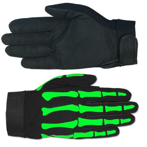 MECHANIC GREEN SKELETON GLOVES