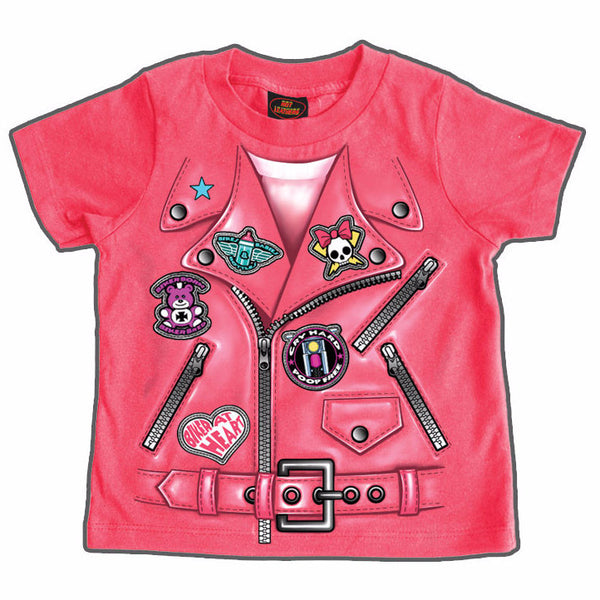 LEATHER JACKET GIRLS - TODDLER T-SHIRT - COTTON