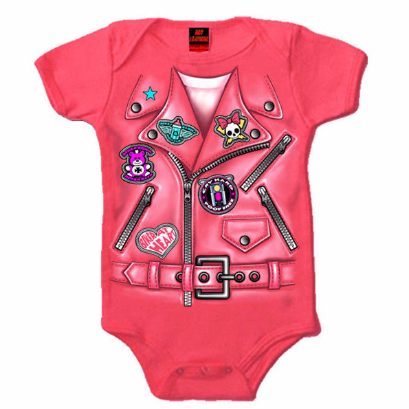 LEATHER JACKET GIRLS - COTTON BABY ONESIE