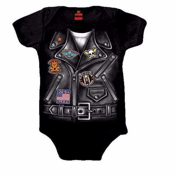 LEATHER JACKET BOYS - COTTON BABY ONESIE