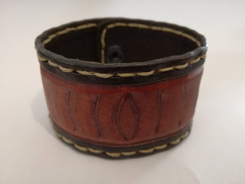 Hand Stitched - Embosed Leather Wrist Band - 19cm wrist