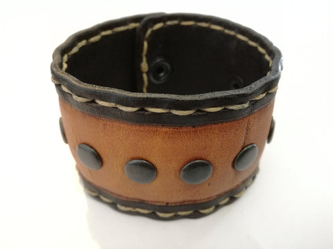 Hand Stitched - Studded Leather Wrist Band