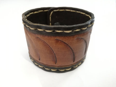 Hand Stitched - Embosed Leather Wrist Band