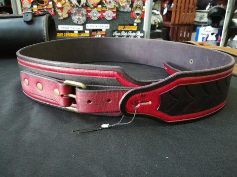 CUSTOM GUITAR STRAP WITH RED-BLACK BUCKLE