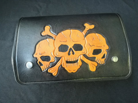 CUSTOM TOOL BAG - SKULL TRIO- LEATHER