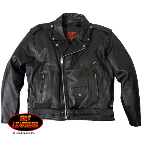 MEN'S CLASSIC MOTORCYCLE LEATHER JACKET WITH ZIP-OUT LINING