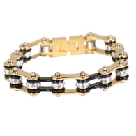 BLACK & GOLD MOTORCYCLE CHAIN BRACELET