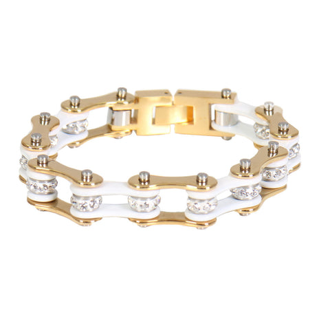 WHITE & GOLD MOTORCYCLE CHAIN BRACELET - 18.41CM