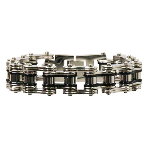 DOUBLE WIDE SILVER AND BLACK MOTORCYCLE CHAIN BRACELETS