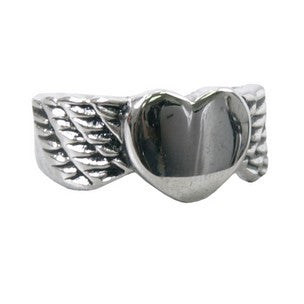 WINGED HEART RING - 316L stainless steel