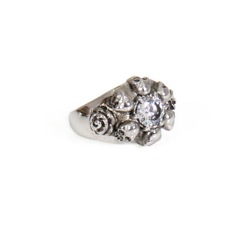 RING RHINESTONE SKULL ROSES - 316L stainless steel - Lady