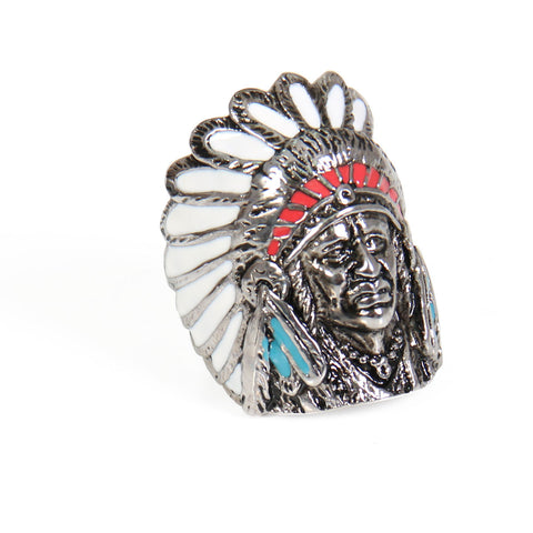 RING INDIAN CHIEF PAINTED - 316L stainless steel