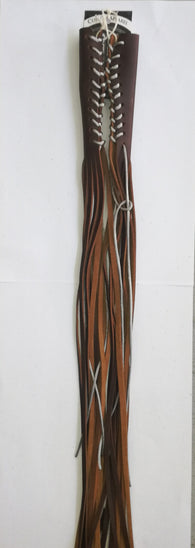 HAND MADE LEATHER LEVER TASSEL -  BROWN WITH SILVER LACE