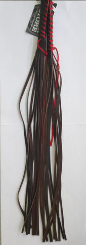 HAND MADE LEATHER LEVER TASSEL -  DARK BROWN WITH RED LACE