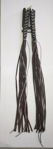 HAND MADE LEATHER LEVER TASSEL -  DARK BROWN WITH SILVER LACE