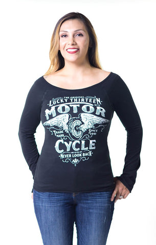 LS LADY NEVER LOOK BACK - LACE UP BACK RAGLAN TOP - LUCKY 13 SINCE 1991