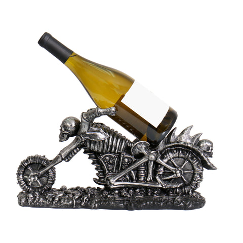 WINE BOTTLE HOLDER SKEL CYCLE - CERAMIC - 38CM