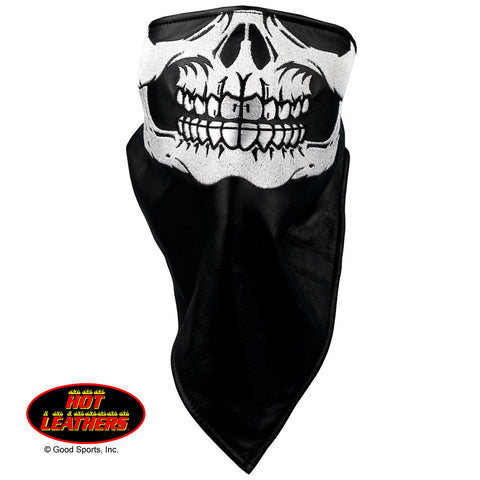 NECKWARMER LEATHER SKULLFACE* - FLEECE LINING LEATHER FACE WRAP