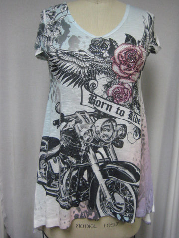 BORN TO RIDE ROSES - DYE SUBLIMATION LADY T-SHIRT - MADE IN USA