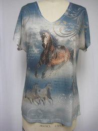 V NECK HORSE ON BLUE - FULL CUT - DYE SUBLIMATION LADY T-SHIRT - MADE IN USA