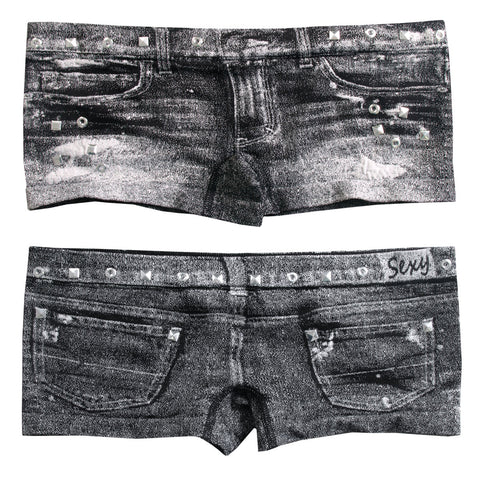 HOT PANTS DENIM JEAN STUDS BLACK