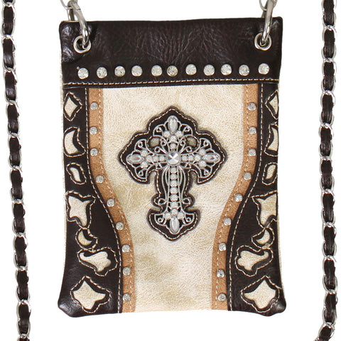 PURSE WITH CROSS & BEIGE CUT OUTS