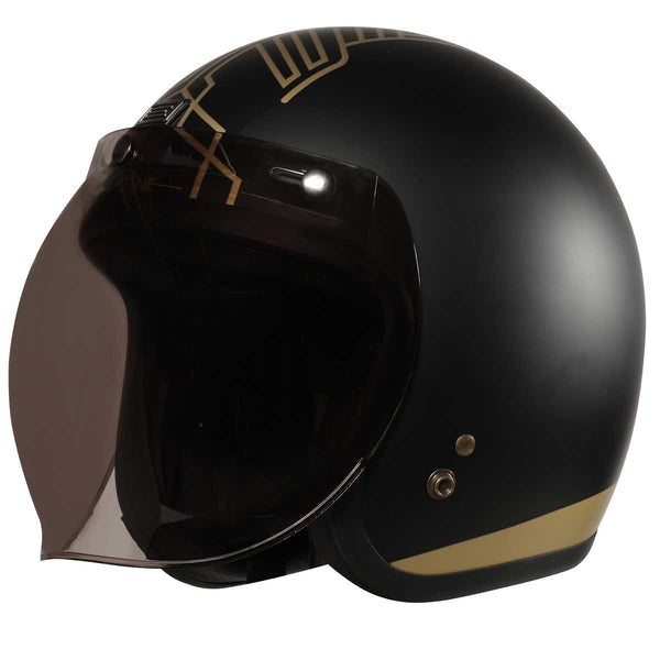 ORIGINE PRIMO + SMOKE BUBBLE VISOR - OPEN FACE BLACK/GOLD