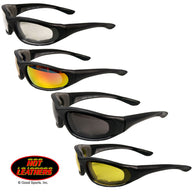 BIKER WRAP SUNGLASSES WITH PADDING / SMOKE - ORG/MIRR - CLEAR - YELLOW LENSES