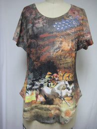 COWBOY HORSES - FULL CUT - DYE SUBLIMATION T-SHIRT - MADE IN USA